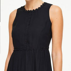 Black Floral Lace Trim Ruffle Dress 2